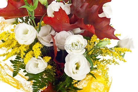lisianthus and autumn leaves