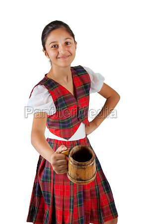 teenager dressed with red plaid clothing