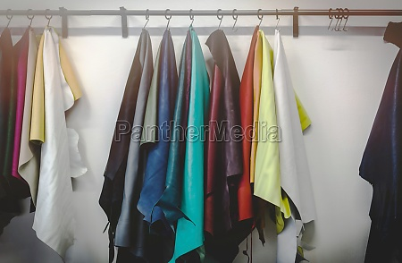 different types and colors of leathers