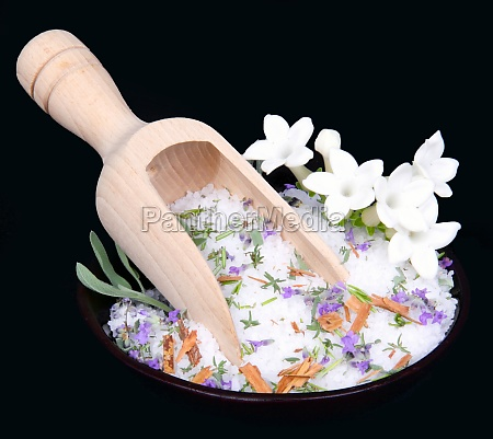 jasmine flowers and bath salt