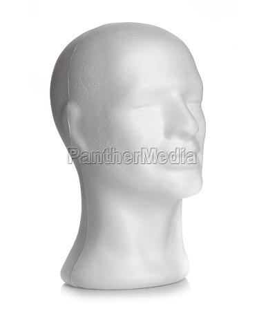 male head of styrofoam