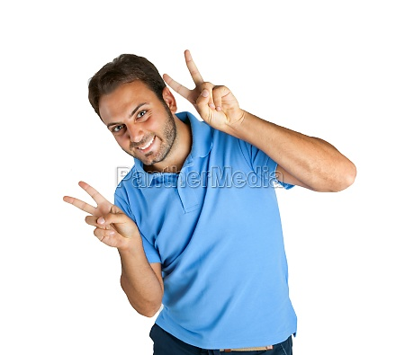 happy guy shows victory