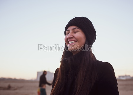 young woman in winter clothing with