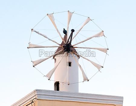 traditional santorini windmill
