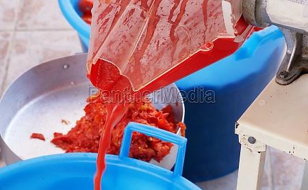 italian tradition homemade tomato puree production