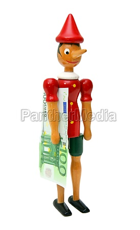 pinocchio with 100 euro wooden toy