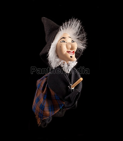 befana witch with flying broom
