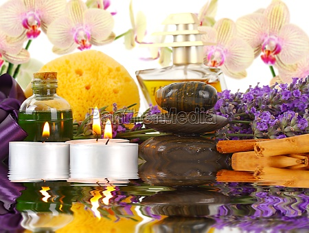 accessories for spa with orchids lavender