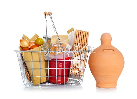 the shopping basket with food and