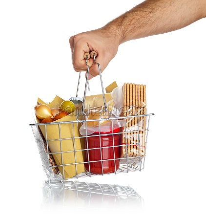 man takes the shopping basket with
