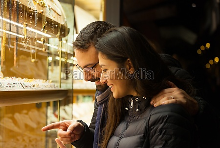 couple looking at the showcase of