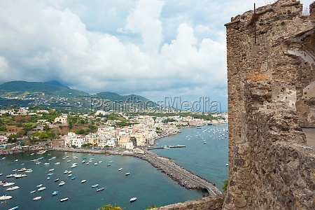 view of ischia ponte from aragonese
