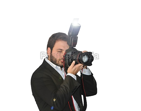 young photographer takes pictures with the