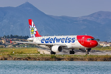 edelweiss airbus a320 airplane corfu airport