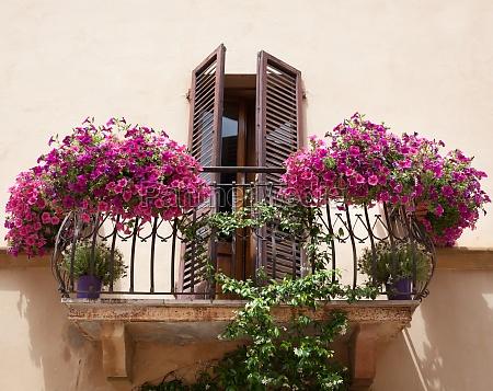 flowers on a balcony in pienza