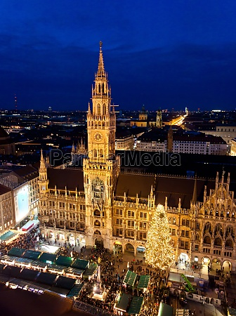 aerial image of munich with christmas