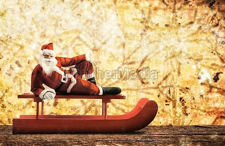 christmas sleigh with santa claus