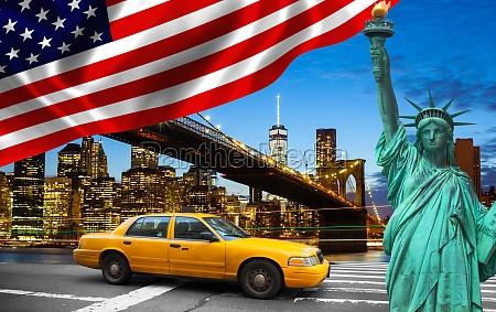 new york city with liberty statue