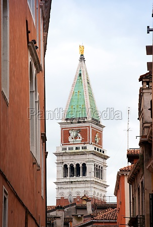 view of the bell tower of
