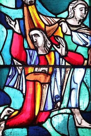 rachel stained glass window in basilica