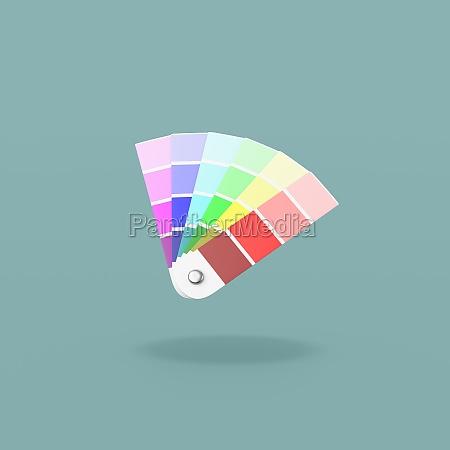 pantone colors sampler on blue background
