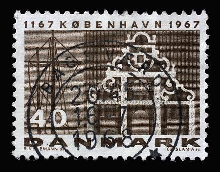 stamp printed in denmark honoring 800th