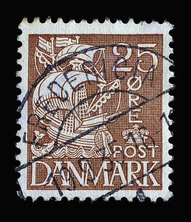 stamp printed in denmark shows caravel