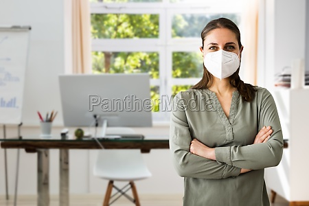 receptionist business woman wearing face mask