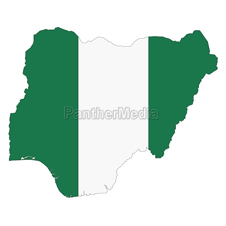 nigeria map on white background with