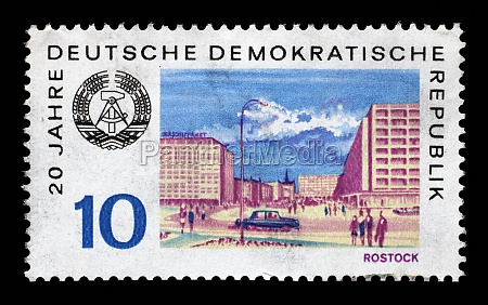 stamp printed in gdr shows view