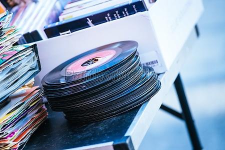 flea market retro vinyl records on