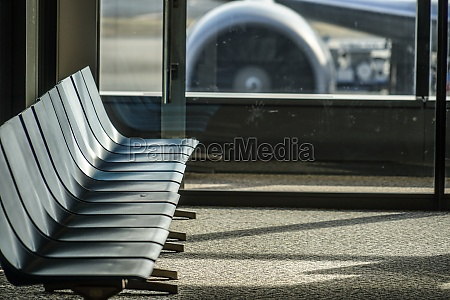 bench of the airport terminal