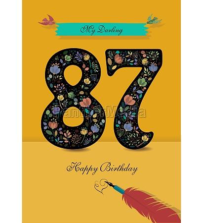 floral number 87 birthday card inkpen