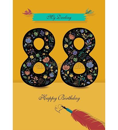 floral number 88 birthday card inkpen