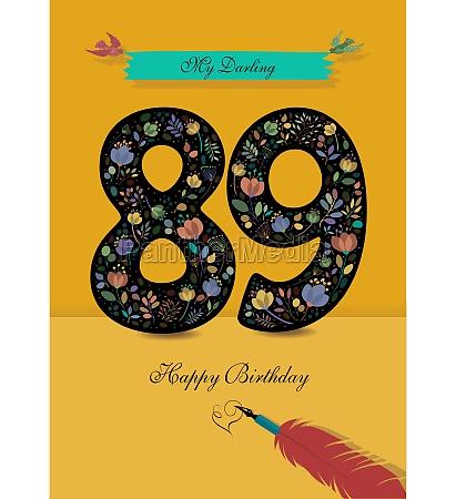 floral number 89 birthday card inkpen