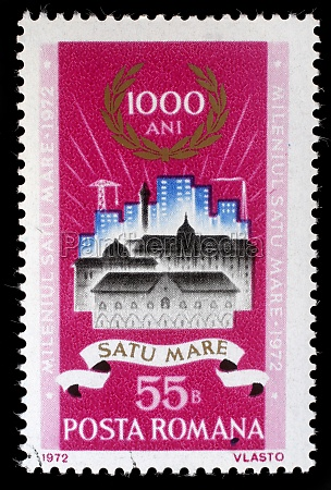 stamp printed in romania shows old
