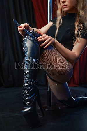 sexy showgirl on stage at the