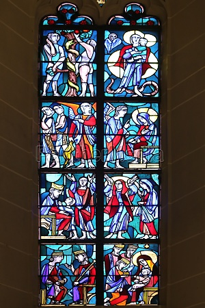 stained glass window in basilica of