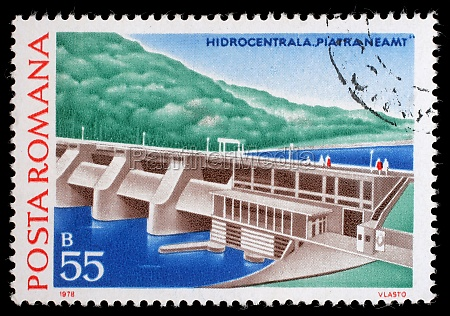 stamp printed in romania shows piatra