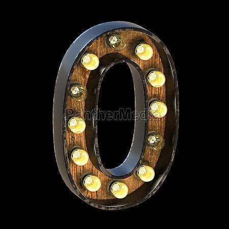 light bulbs font number 0 zero
