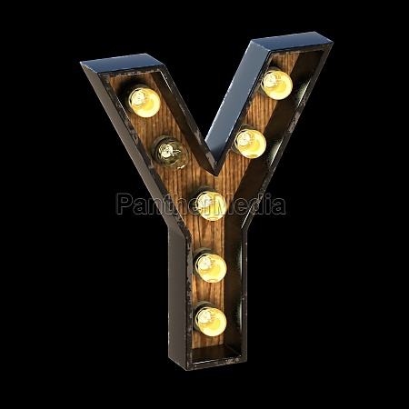 light bulbs font letter y 3d