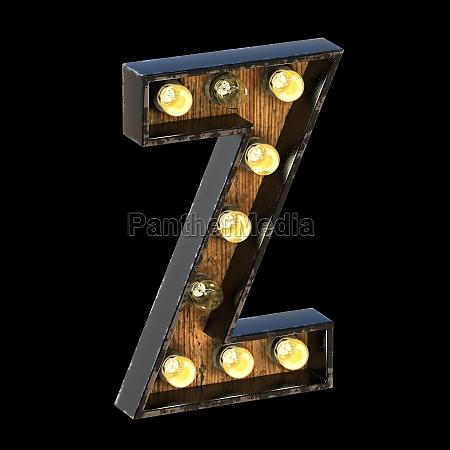 light bulbs font letter z 3d