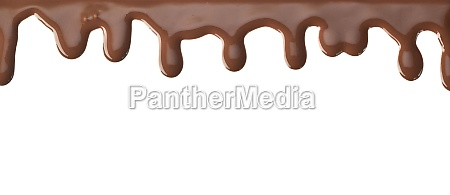 strip of chocolate dripping on white