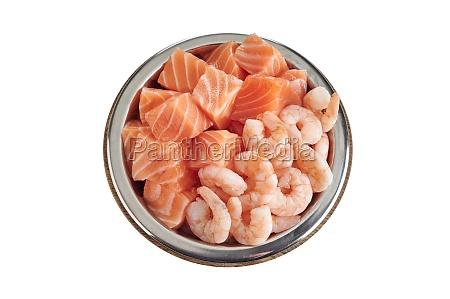 bowl of fresh fish and prawns