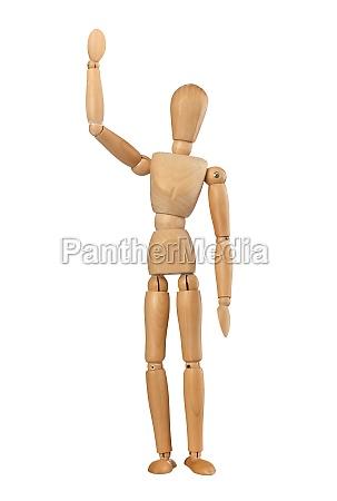 wooden dummy man waving hello