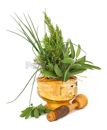 healing herbs with mortar and pestle