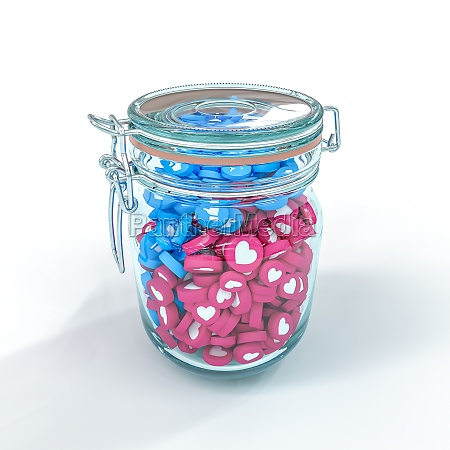 glass jar containing like icons and