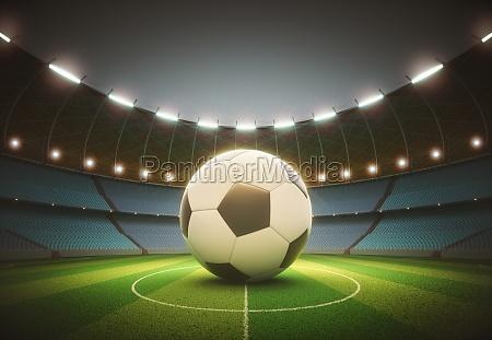 spotlight soccer ball stadium with clipping