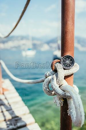sailing nautical compass on a sailing