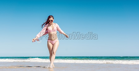 woman having fun walking in the